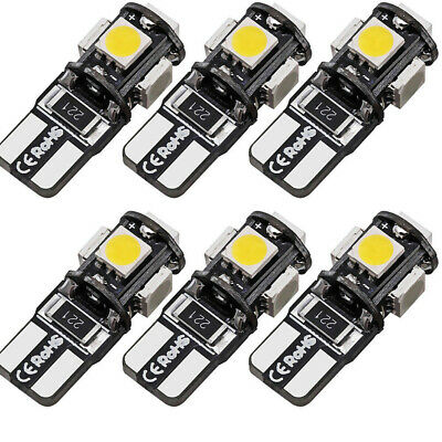 6X Canbus Error Free T10 Led 5 SMD White Car Side Wedge Light Lamp Bulb W5W