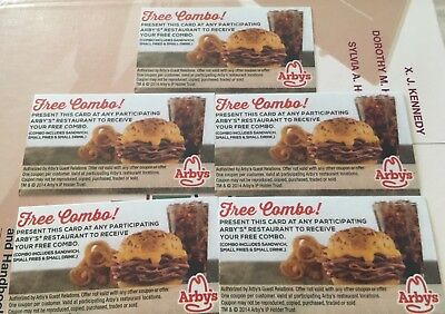 (5) Arby's Combo Meal Vouchers Gift Certificates No Expiration, ships fast