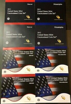 2011-2018 U.S. Mint Uncirculated Coin Set D and P 222 COINS 18 SETS