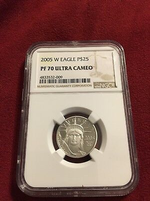 2005 W $25 1/4 Oz 9995 PLATINUM American EAGLE Proof Coin NGC PF70 SEMI-KEY Date