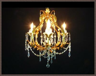 Italian Tole Chandelier Superb Leaded Crystals Gorgeous Vintage Gold Finish WOW!