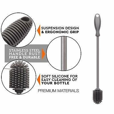 """Silicone Bottle Cleaning Brush with Long Handle,12.5"""" for Sports Bottle (Gray)"""