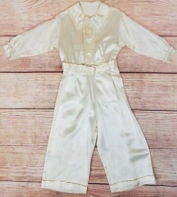 Vintage Ivory Satin 2 PC Dress Oufit Pant Shirt Suit Toddlers Childs Christening