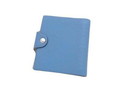 Auth HERMES Square I (2005) Mini Ulysse Note Cover Blue Jean Togo Leather e39870