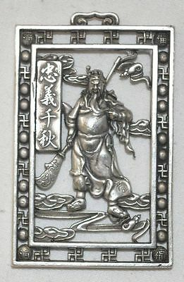 China Old Silvering Copper Pendant Hollow Necklace Hero Guan Yu Statue Amulet