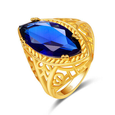 Engagement Jewelry Marquise Cut Sapphire Gemstone 18K Yellow Gold Plated Ring
