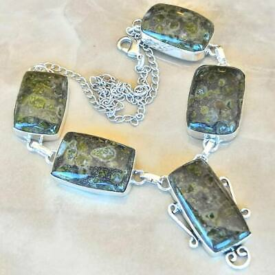 "Handmade Phyolite Rainforest Jasper 925 Sterling Silver Necklace 17"" #N01900"