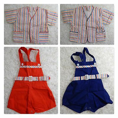 Antique BABY 4PC/Outfits Red White&Blue Striped JACKET/OVERALLS Vintage Ex Cond