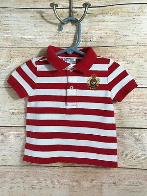 Ralph Lauren Baby Boys Short Sleeve Polo Top Red White Striped Size 9 Months