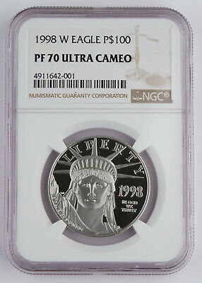 1998 W $100 1 Oz 9995 PLATINUM American EAGLE Proof Coin NGC PF70 UC