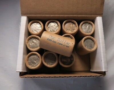 (12) Old Sealed Buffalo Nickel Half Roll Lot *IN BOX* // Fifth Ave. Bank of NY