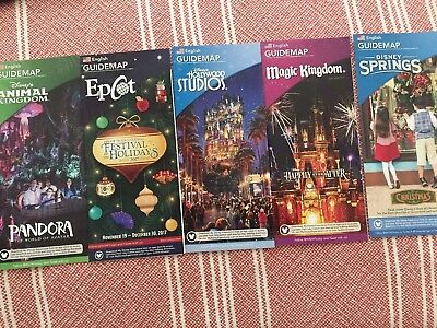 NEW 2017 Walt Disney World Theme Park Guide Maps 5 Holiday Most Current Dec. 17