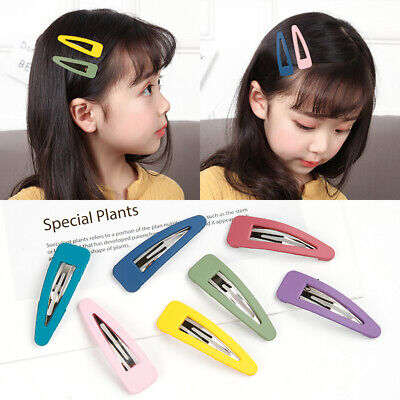 2x Candy Color Acrylic Snap Hair Clips Hairpin Barrette Pins Baby Girl Hair Bows