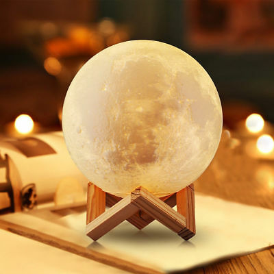 3D Printing Moon Lunar LED Night Light Stand Lamp Touch USB Charging Xmas Gift