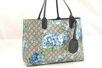 3fd2073527d Authentic GUCCI GG Blooms Blossoms Blue Reversible Leather Tote Bag Box  63068