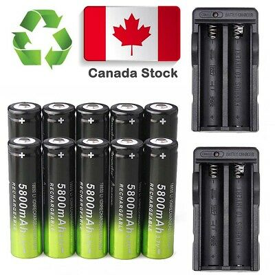 8X 18650 5800mAh 3.7V Li-on Rechargeable Battery 2X Dual Charger FOR Flashlights