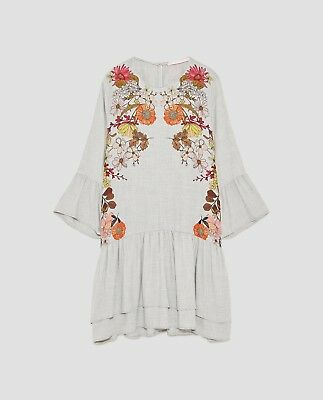 50e39d32 ZARA FLORAL PRINTED DRESS WITH FRILLS-Grey marl-size S, M-ref 8342 ...