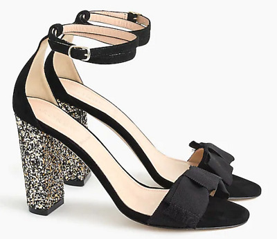 21779a99538  248 J.Crew Suede sandals with glitter heel-Item G9696-black-size