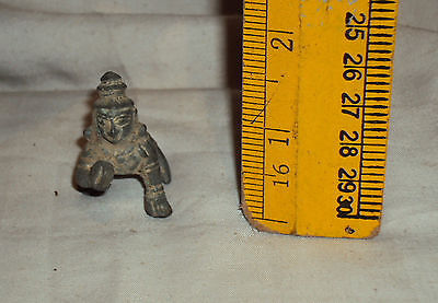 Antique Hindu Traditional Indian Ritual Bronze God Krishna Crawling (Rare):
