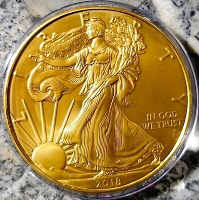 NEW  2018 American Silver Eagle , 1oz .999 pure Silver Coin , 24k Gold Gilded F