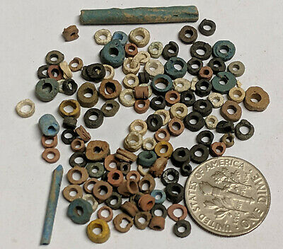 More than a Hundred 2500 Year old Ancient Egyptian Faience Mummy Beads (K5684)