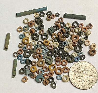 More than a Hundred 2500 Year old Ancient Egyptian Faience Mummy Beads (K5687)