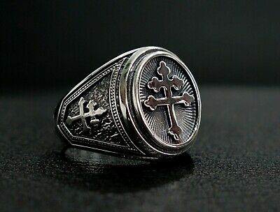 Magnum Cross of Lorraine Ring, Knights Templar Crusade Ring 925 Sterling Silver