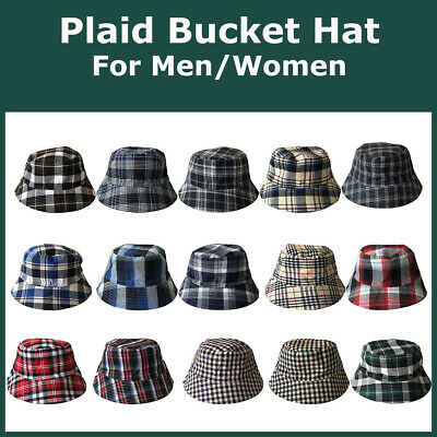 Plaid Bucket Hat For Men Women Tartan Beach Hats Sun Fisherman Caps Outdoor Wear