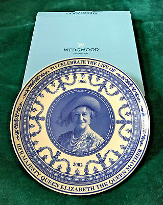 Queen Mother Celebrate the Life Of China Plate - Blue Wedgewood 22.5cm with Box