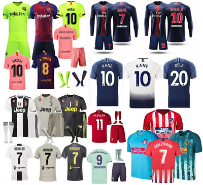 Football Outfit Kids Soccer Club Short Sleeve Sportwear Jersey Kit+Socks
