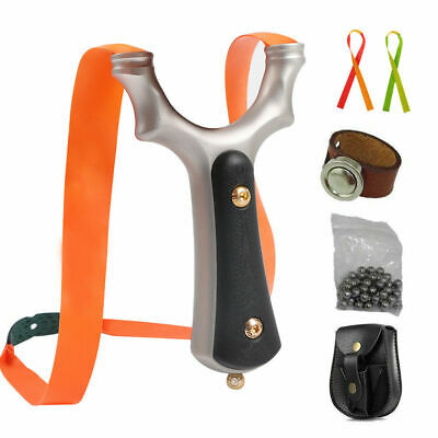 Catapult Steel Powerful Hunting Slingshots Set Rubber Band Ammo Magnetic Ring