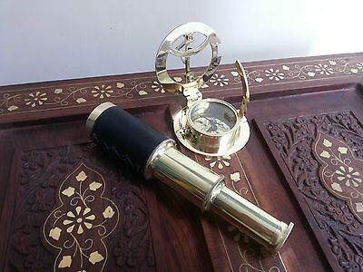 Antique Brass Telescope Leather Grip Brass Sundial Compass Maritime Gift