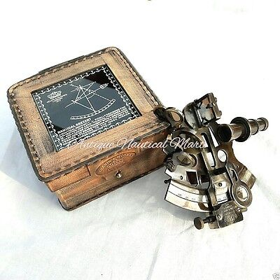 Nautical Brass Sextant Astrolabe With Leather Box Collectible Gift