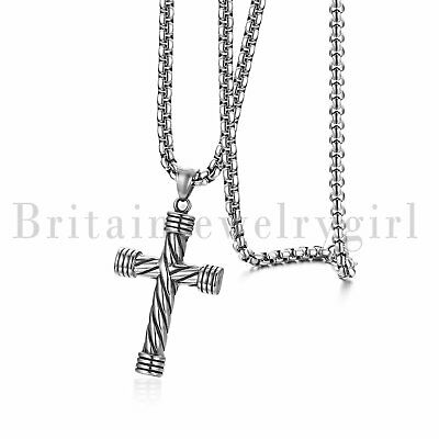 """Fashion Stainless Steel Religious Large Cross Pendant Necklace for Men Women 22"""""""