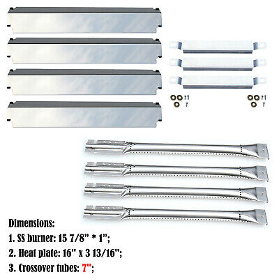 Replacement Charbroil 463268107 Gas Grill Burners, CrossoverTubes,SS Heat Plates