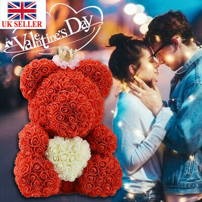 40cm Heart Love Teddy Bear Rose Foam Flower  Wedding Birthday Gift for Wife UK
