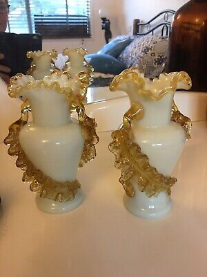 Victorian Opaque White Bohemian Glass Vases With Overlay Circa 1890