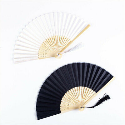 Chinese Style Hand Held Fan Blank Silk Cloth Bamboo Folding Craft DIY Decor