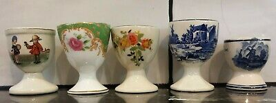 Collection of 5 vintage retro china egg cups varying styles and makers