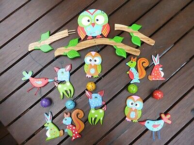 Wooden Baby Mobile - Forest Friends Design, As New Hand Made
