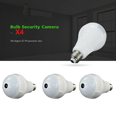 4X 360° 3D VR Panoramic View HD Wi-Fi IP Bulb Security Camera With Fisheye Lens