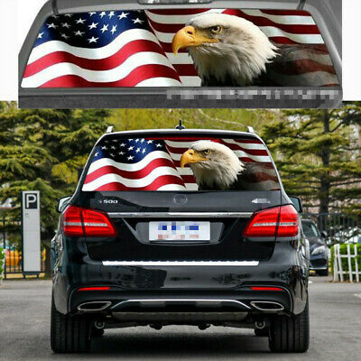 Durable AMERICAN FLAG EAGLE Rear Window Perforated Graphic Decals SUV Universal