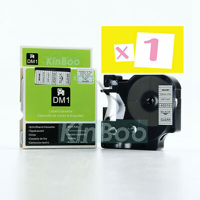 1 Pack Tape Label Compatible for DYMO D1 45010 Black on Clear 12mm 7m