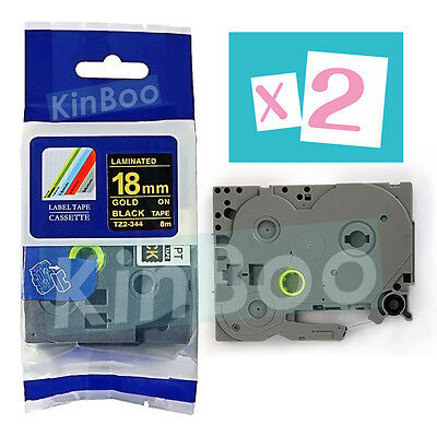 2 Pack Tape Label Compatible for Brother P-Touch TZ TZe 344 Gold on Black 18mm