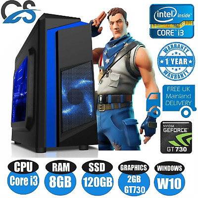 FAST Gaming Computer PC Bundle Intel Core i3 8GB 120GB SSD Windows 10 2GB GT710