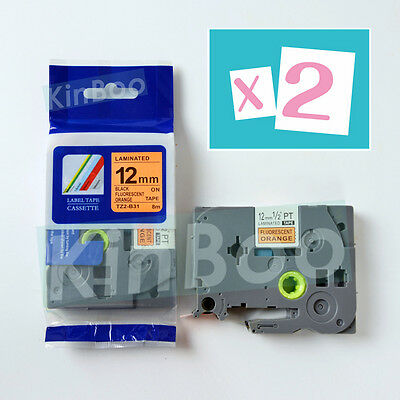 2PK Tape Label Compatible for Brother P-Touch TZ TZe B31 Black-Fluo oranger 12mm
