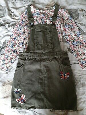 Gorgeous girls pinafore/dungaree dress with matching top. Age 10yrs, Mantaray