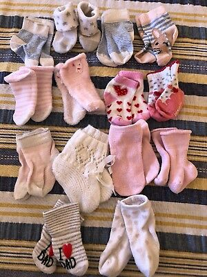Bulk Lot Of 14 Pairs Of Baby Socks Newborn To 6months Approx