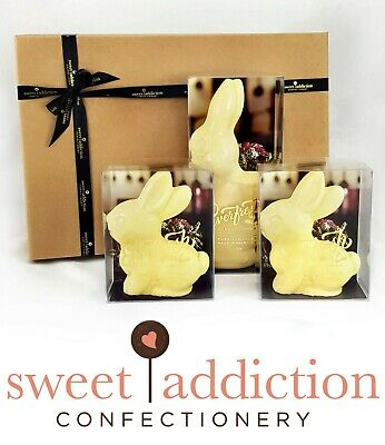 White Chocolate Easter Bunny Gift Hamper Box - Belgian Couverture Chocolate