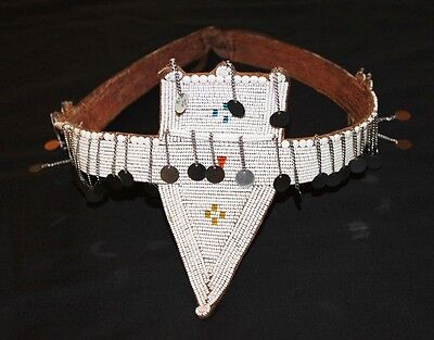 African Antique Maasai Masai Beaded Ethnic Tribal Beaded Leather Belt - Tz 01